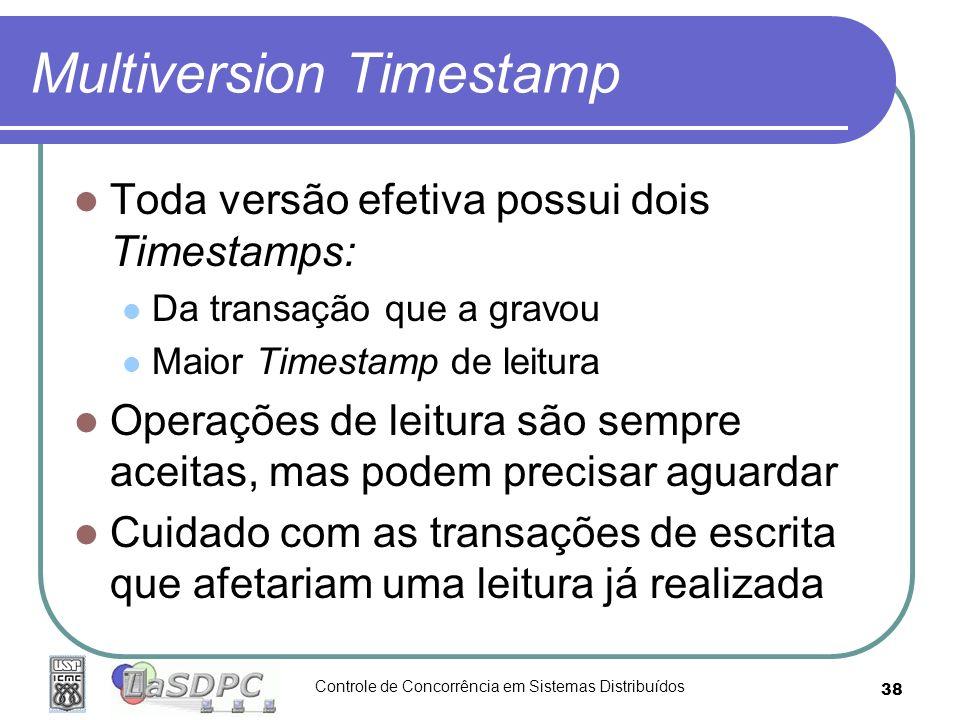 Controle de Concorrência em Sistemas Distribuídos 38 Multiversion Timestamp Toda versão efetiva possui dois Timestamps: Da transação que a gravou Maio
