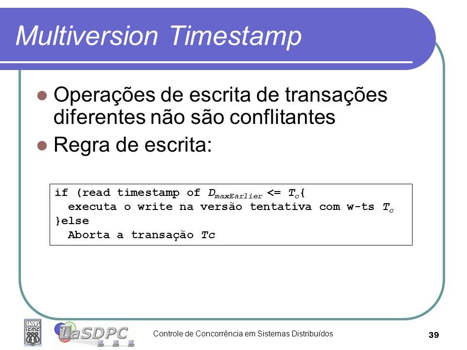 Controle de Concorrência em Sistemas Distribuídos 39 Multiversion Timestamp Operações de escrita de transações diferentes não são conflitantes Regra d