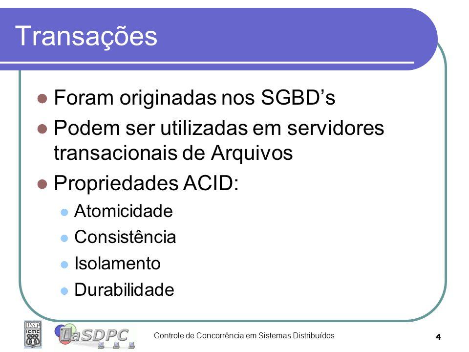 Controle de Concorrência em Sistemas Distribuídos 4 Transações Foram originadas nos SGBDs Podem ser utilizadas em servidores transacionais de Arquivos