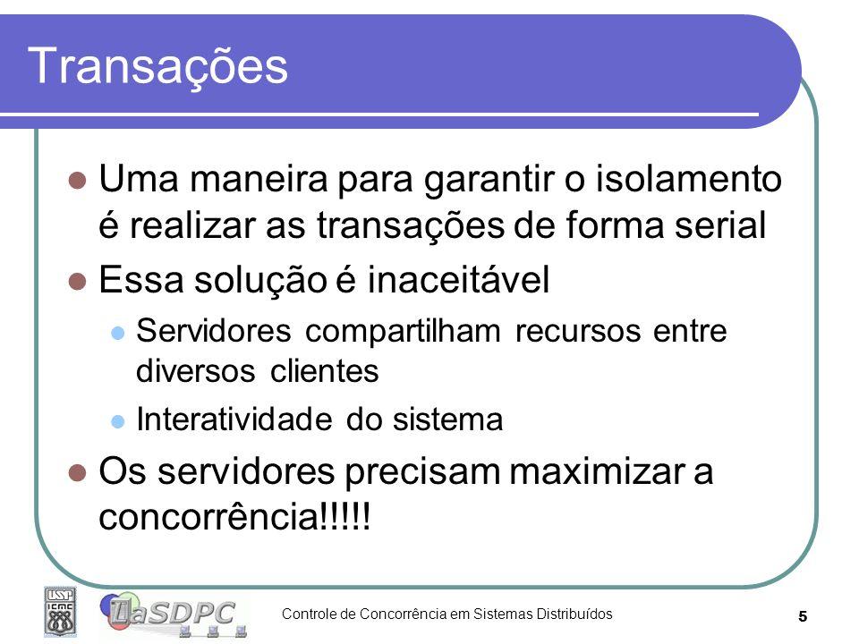 Controle de Concorrência em Sistemas Distribuídos 5 Transações Uma maneira para garantir o isolamento é realizar as transações de forma serial Essa so