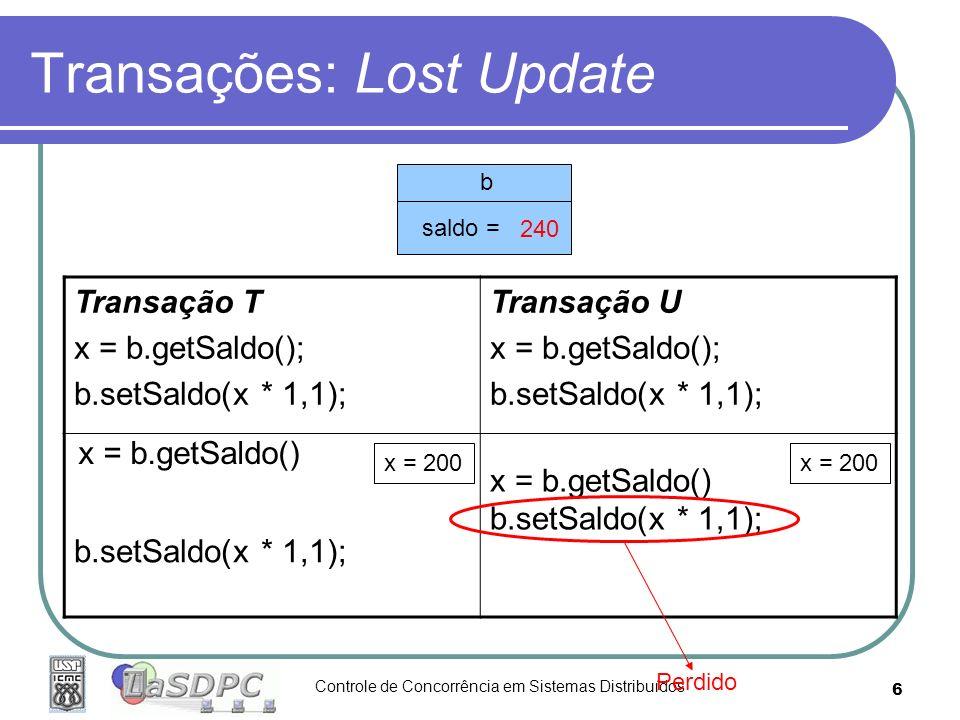 Controle de Concorrência em Sistemas Distribuídos 6 Transações: Lost Update Transação T x = b.getSaldo(); b.setSaldo(x * 1,1); Transação U x = b.getSa