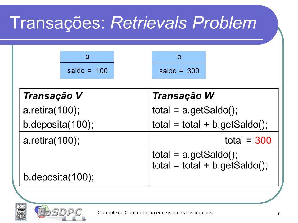 Controle de Concorrência em Sistemas Distribuídos 7 Transações: Retrievals Problem Transação V a.retira(100); b.deposita(100); Transação W total = a.g