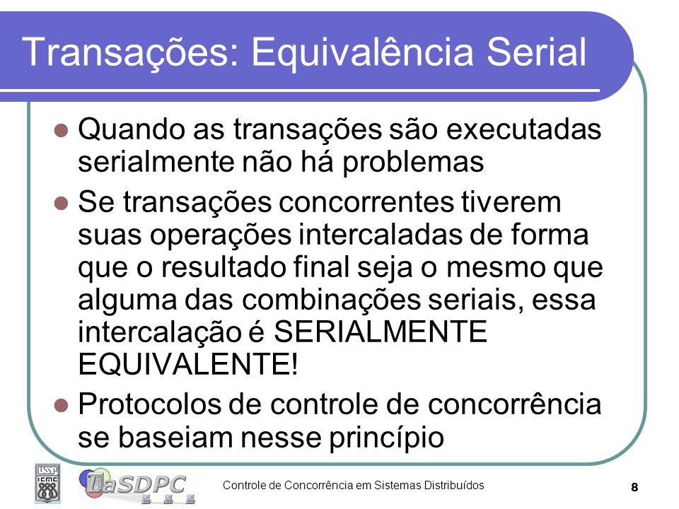 Controle de Concorrência em Sistemas Distribuídos 8 Transações: Equivalência Serial Quando as transações são executadas serialmente não há problemas S