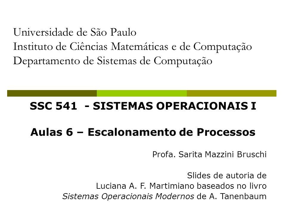 2 Escalonamento de Processos Sistemas Interativos Algoritmos para Sistemas Interativos: Round-Robin; Prioridade; Múltiplas Filas; Shortest Process Next; Garantido; Lottery; Fair-Share; Utilizam escalonamento em dois níveis (escalonador da CPU e memória);