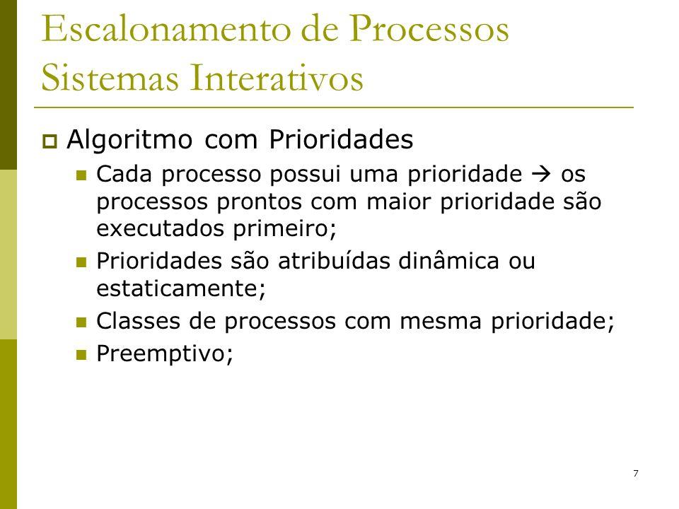 8 Escalonamento de Processos Sistemas Interativos Algoritmo com Prioridades 1 2 3 4 mais alta mais baixa prioridade FILAS processos prontos (Round-Robin)