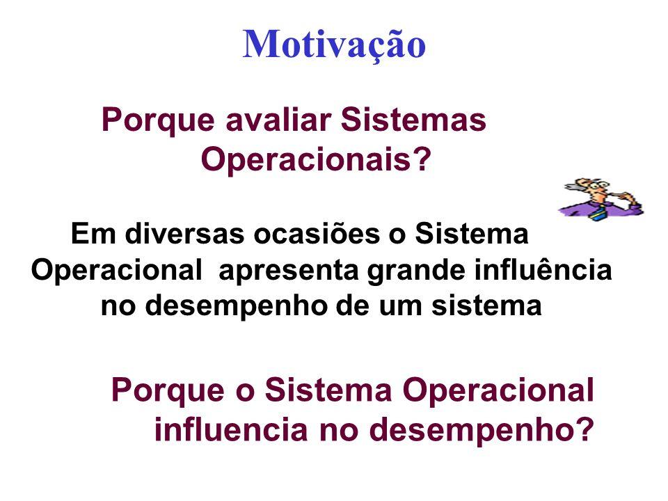 Motivação Porque avaliar Sistemas Operacionais? Porque o Sistema Operacional influencia no desempenho? Em diversas ocasiões o Sistema Operacional apre