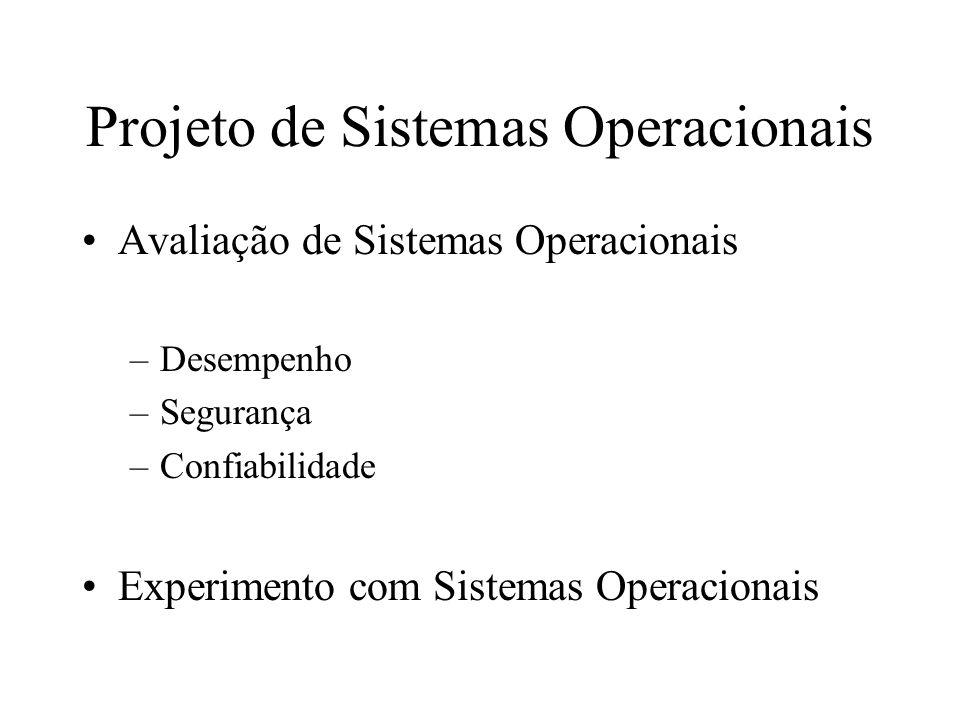 Projeto de Sistemas Operacionais Avaliação de Sistemas Operacionais –Desempenho –Segurança –Confiabilidade Experimento com Sistemas Operacionais
