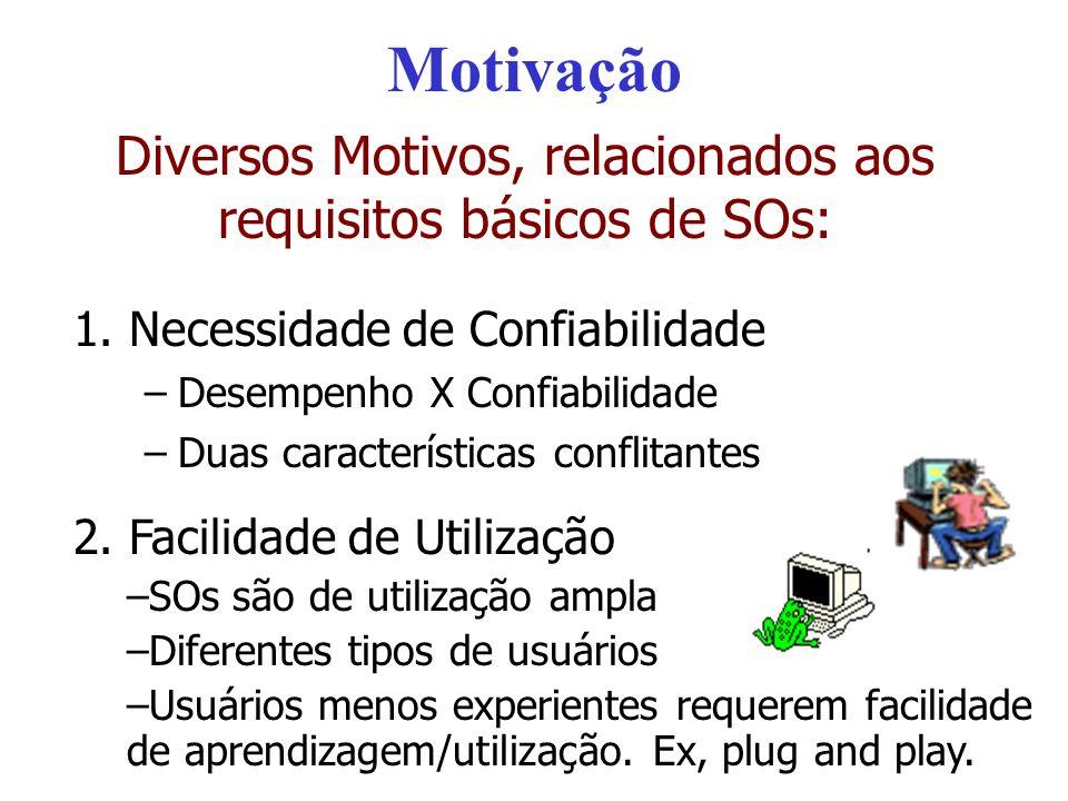 Motivação Diversos Motivos, relacionados aos requisitos básicos de SOs: 1. Necessidade de Confiabilidade –Desempenho X Confiabilidade –Duas caracterís