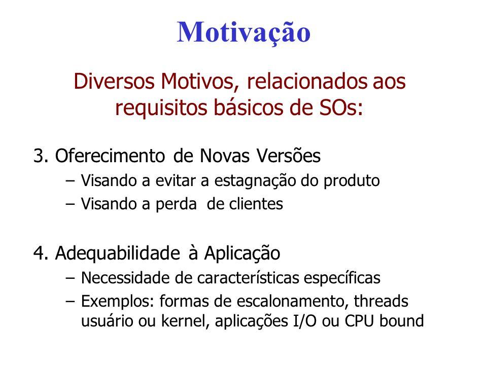 Motivação Diversos Motivos, relacionados aos requisitos básicos de SOs: 3. Oferecimento de Novas Versões –Visando a evitar a estagnação do produto –Vi