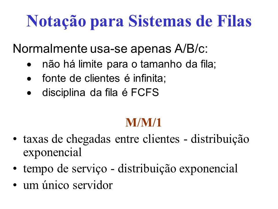 Normalmente usa-se apenas A/B/c: não há limite para o tamanho da fila; fonte de clientes é infinita; disciplina da fila é FCFS M/M/1 taxas de chegadas entre clientes - distribuição exponencial tempo de serviço - distribuição exponencial um único servidor Notação para Sistemas de Filas