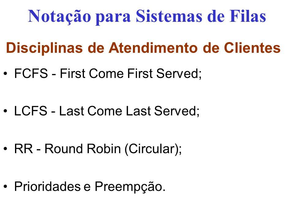 Disciplinas de Atendimento de Clientes FCFS - First Come First Served; LCFS - Last Come Last Served; RR - Round Robin (Circular); Prioridades e Preempção.
