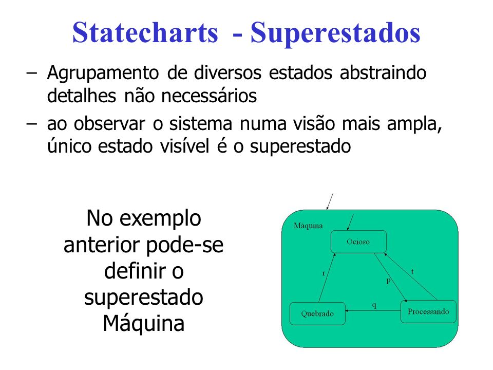 Statecharts - Superestados –Agrupamento de diversos estados abstraindo detalhes não necessários –ao observar o sistema numa visão mais ampla, único estado visível é o superestado No exemplo anterior pode-se definir o superestado Máquina