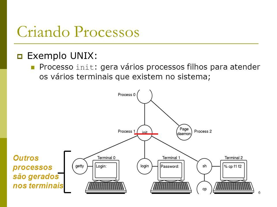 7 Finalizando Processos Condições: Término normal (voluntário): A tarefa a ser executada é finalizada; Chamadas: exit (UNIX) e ExitProcess (Windows) Término com erro (voluntário): O processo sendo executado não pode ser finalizado: gcc filename.c, o arquivo filename.c não existe;