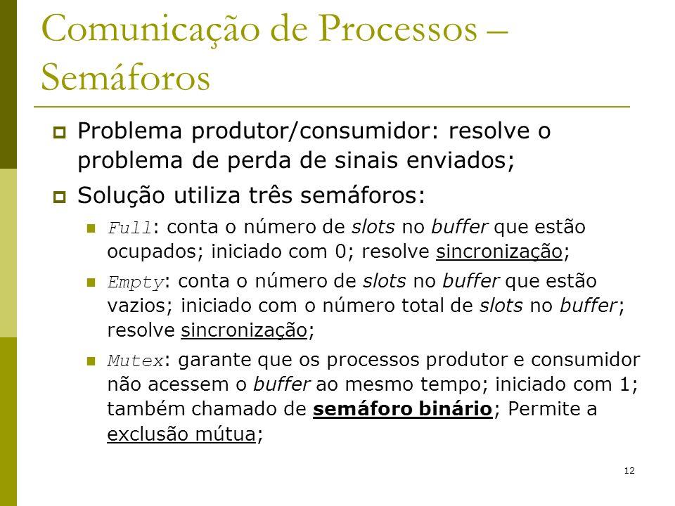 12 Comunicação de Processos – Semáforos Problema produtor/consumidor: resolve o problema de perda de sinais enviados; Solução utiliza três semáforos:
