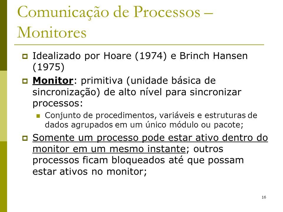 16 Comunicação de Processos – Monitores Idealizado por Hoare (1974) e Brinch Hansen (1975) Monitor: primitiva (unidade básica de sincronização) de alt