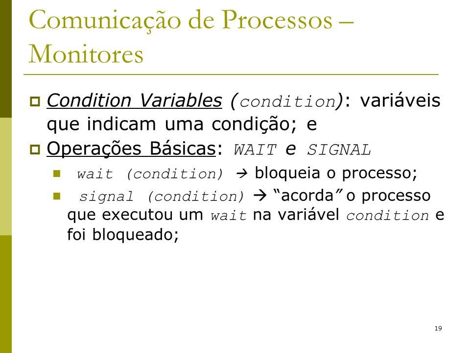 19 Comunicação de Processos – Monitores Condition Variables ( condition ): variáveis que indicam uma condição; e Operações Básicas: WAIT e SIGNAL wait