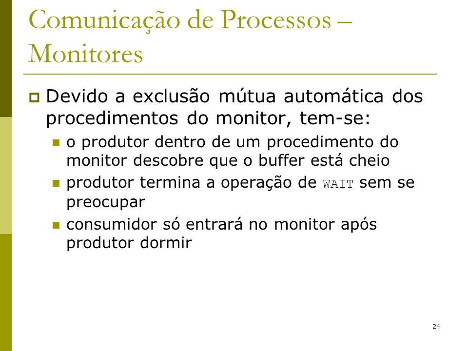24 Comunicação de Processos – Monitores Devido a exclusão mútua automática dos procedimentos do monitor, tem-se: o produtor dentro de um procedimento