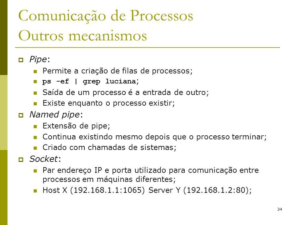 34 Comunicação de Processos Outros mecanismos Pipe: Permite a criação de filas de processos; ps -ef   grep luciana ; Saída de um processo é a entrada