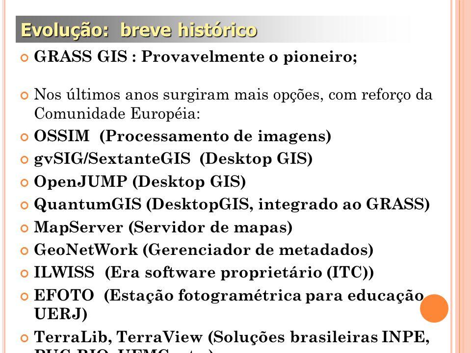 GRASS GIS : Provavelmente o pioneiro; Nos últimos anos surgiram mais opções, com reforço da Comunidade Européia: OSSIM (Processamento de imagens) gvSI