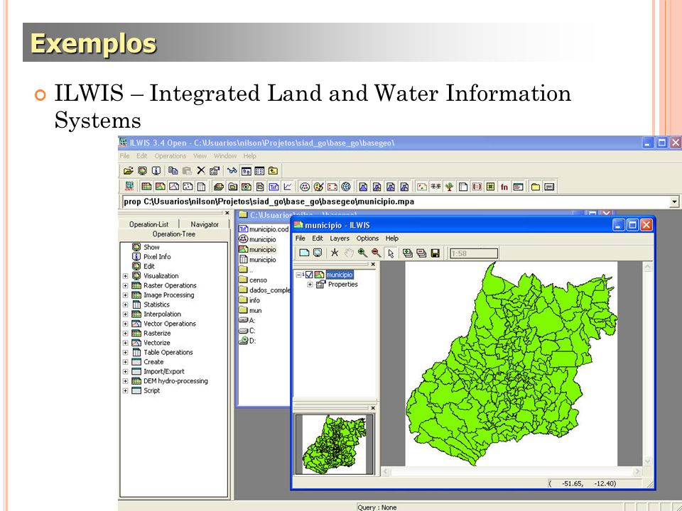 ILWIS – Integrated Land and Water Information Systems Exemplos