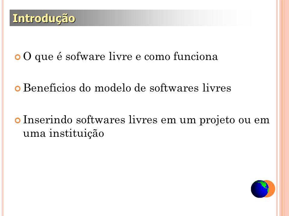 O que é sofware livre e como funciona Beneficios do modelo de softwares livres Inserindo softwares livres em um projeto ou em uma instituição Introduç