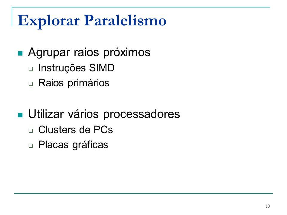 10 Explorar Paralelismo Agrupar raios próximos Instruções SIMD Raios primários Utilizar vários processadores Clusters de PCs Placas gráficas