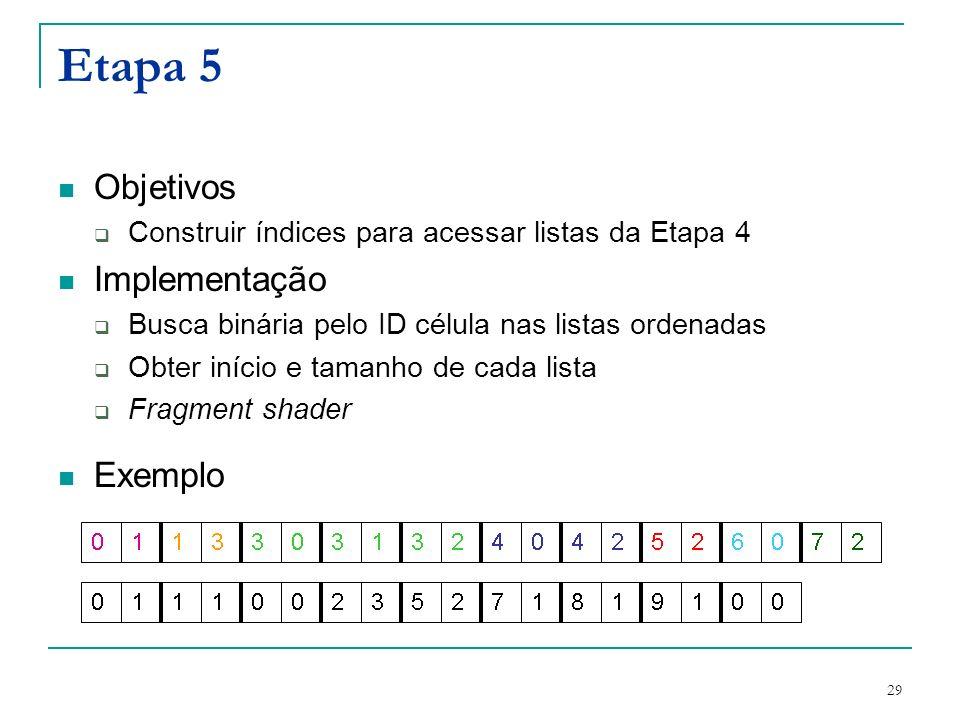 29 Etapa 5 Objetivos Construir índices para acessar listas da Etapa 4 Implementação Busca binária pelo ID célula nas listas ordenadas Obter início e t