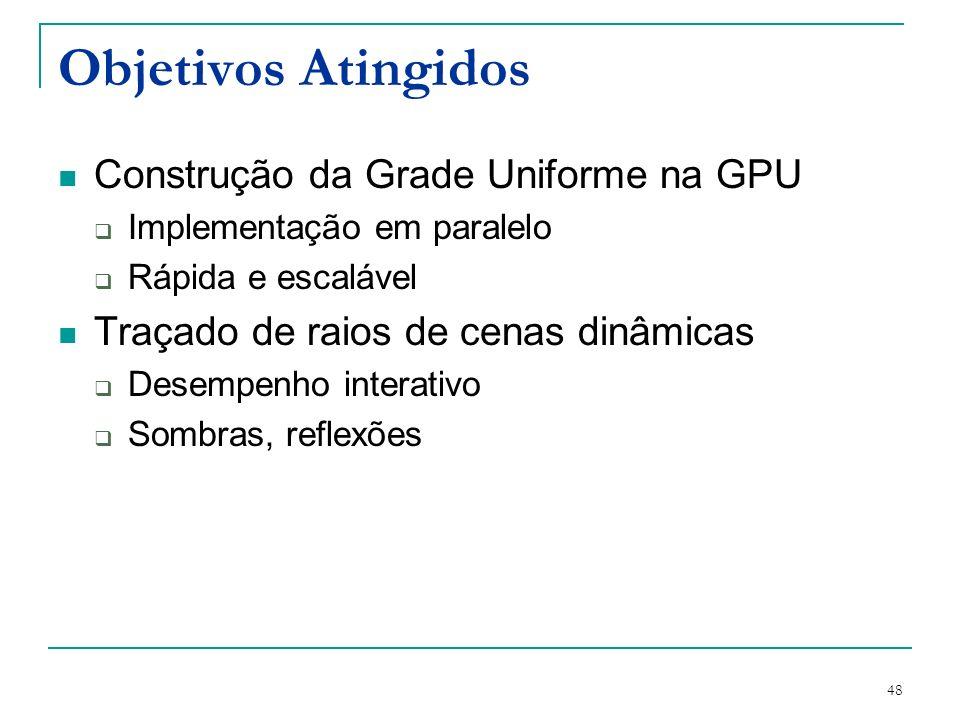 48 Objetivos Atingidos Construção da Grade Uniforme na GPU Implementação em paralelo Rápida e escalável Traçado de raios de cenas dinâmicas Desempenho