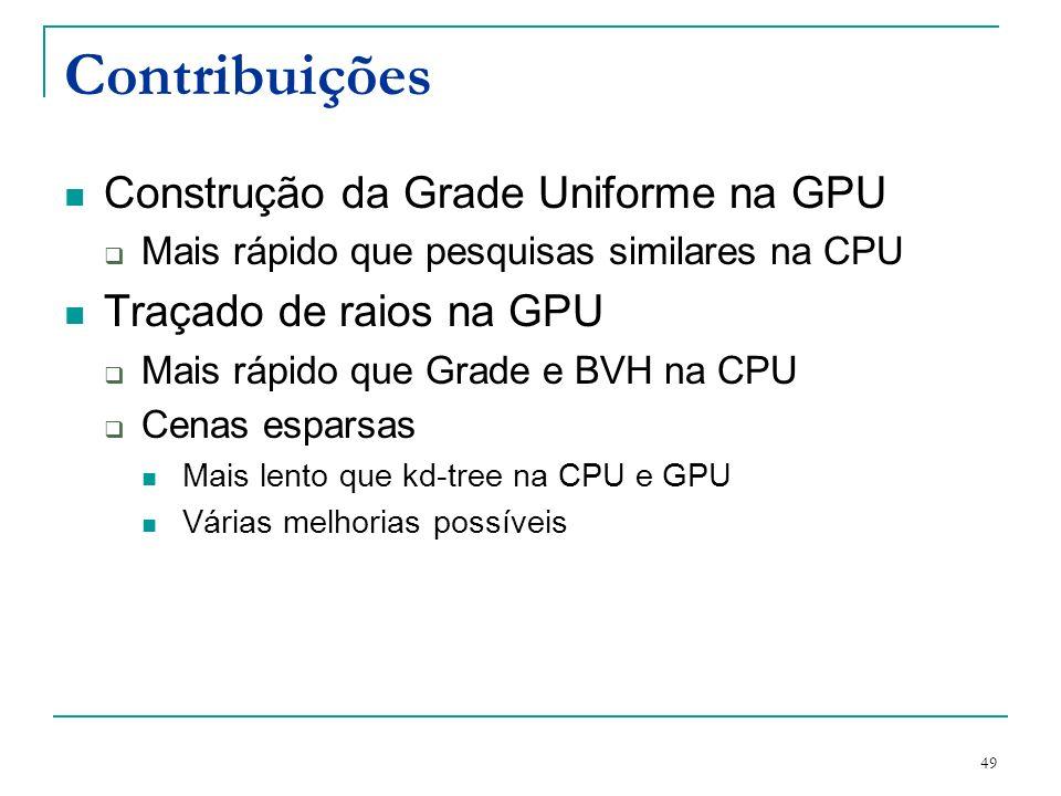 49 Contribuições Construção da Grade Uniforme na GPU Mais rápido que pesquisas similares na CPU Traçado de raios na GPU Mais rápido que Grade e BVH na