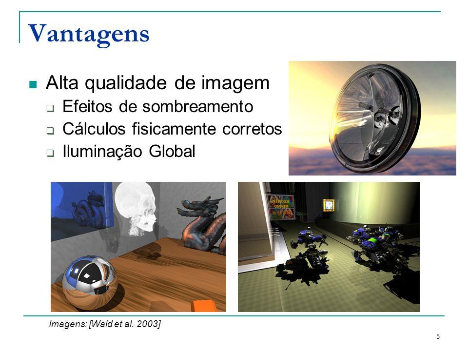 5 Vantagens Alta qualidade de imagem Efeitos de sombreamento Cálculos fisicamente corretos Iluminação Global Imagens: [Wald et al. 2003]
