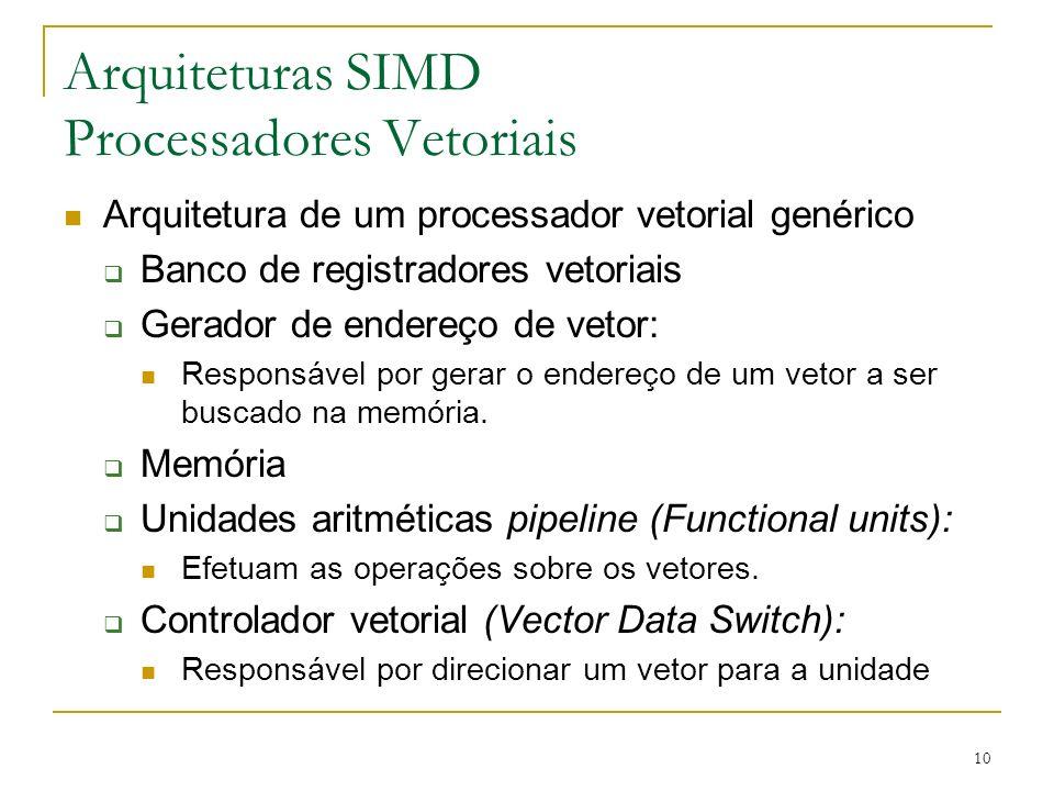 10 Arquiteturas SIMD Processadores Vetoriais Arquitetura de um processador vetorial genérico Banco de registradores vetoriais Gerador de endereço de vetor: Responsável por gerar o endereço de um vetor a ser buscado na memória.