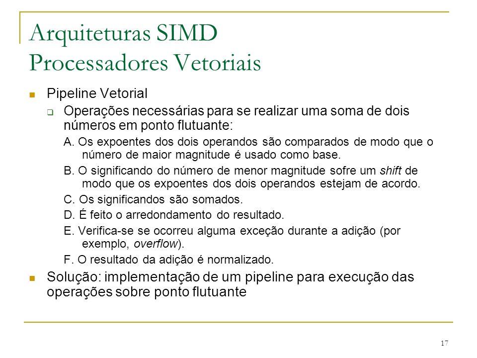 17 Arquiteturas SIMD Processadores Vetoriais Pipeline Vetorial Operações necessárias para se realizar uma soma de dois números em ponto flutuante: A.