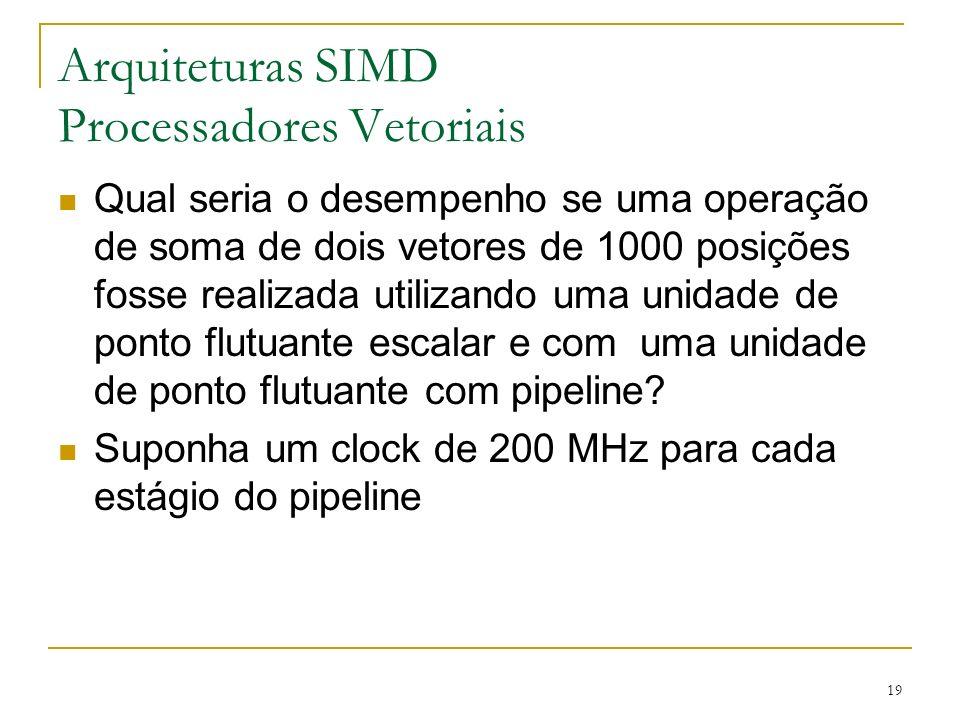19 Arquiteturas SIMD Processadores Vetoriais Qual seria o desempenho se uma operação de soma de dois vetores de 1000 posições fosse realizada utilizando uma unidade de ponto flutuante escalar e com uma unidade de ponto flutuante com pipeline.