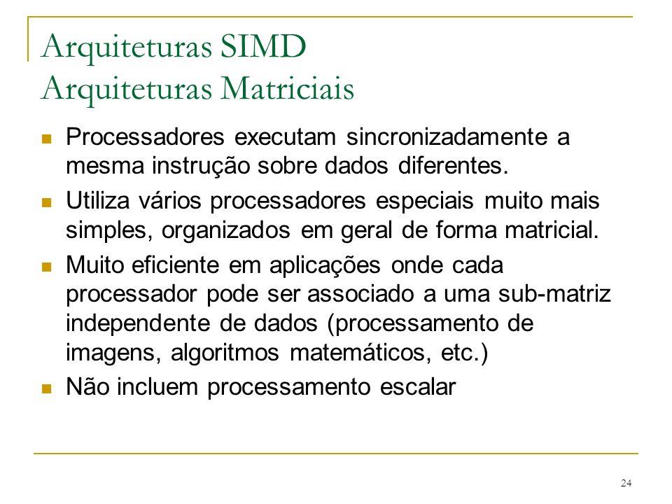 24 Arquiteturas SIMD Arquiteturas Matriciais Processadores executam sincronizadamente a mesma instrução sobre dados diferentes.
