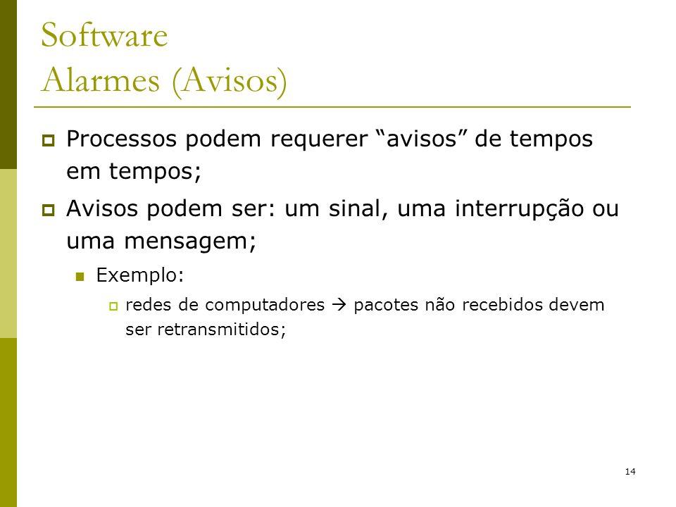 14 Software Alarmes (Avisos) Processos podem requerer avisos de tempos em tempos; Avisos podem ser: um sinal, uma interrupção ou uma mensagem; Exemplo