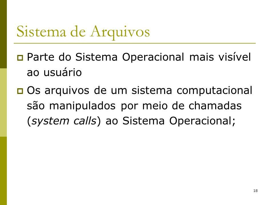18 Sistema de Arquivos Parte do Sistema Operacional mais visível ao usuário Os arquivos de um sistema computacional são manipulados por meio de chamad