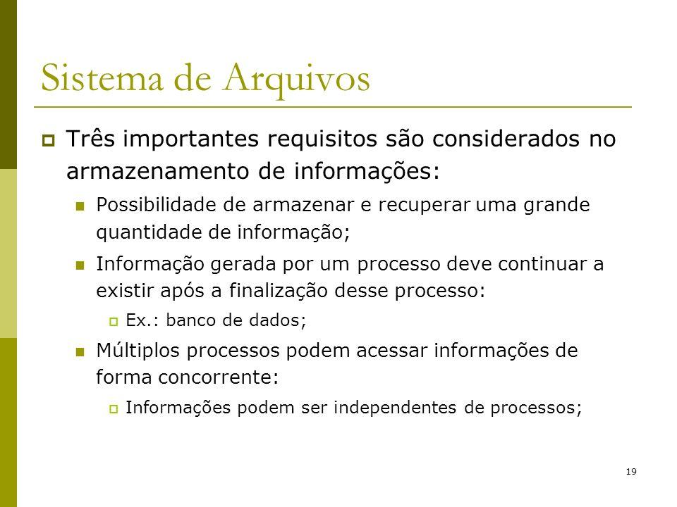 19 Sistema de Arquivos Três importantes requisitos são considerados no armazenamento de informações: Possibilidade de armazenar e recuperar uma grande