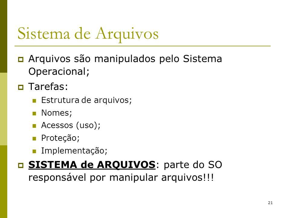 21 Sistema de Arquivos Arquivos são manipulados pelo Sistema Operacional; Tarefas: Estrutura de arquivos; Nomes; Acessos (uso); Proteção; Implementaçã