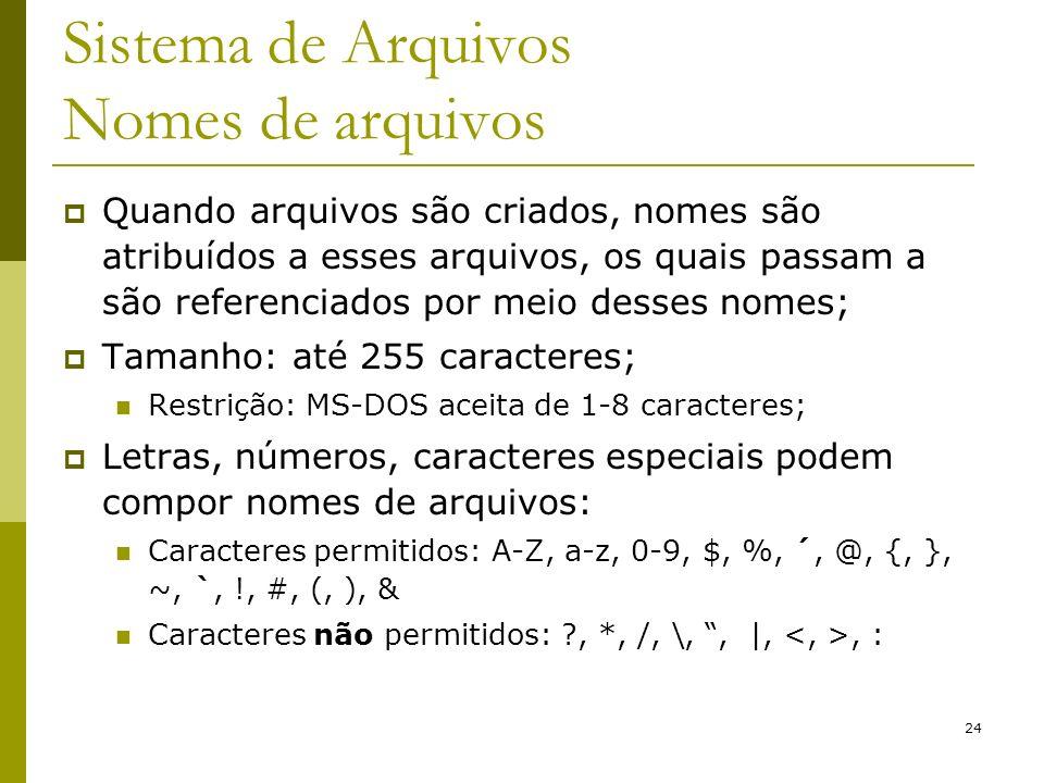 24 Sistema de Arquivos Nomes de arquivos Quando arquivos são criados, nomes são atribuídos a esses arquivos, os quais passam a são referenciados por m