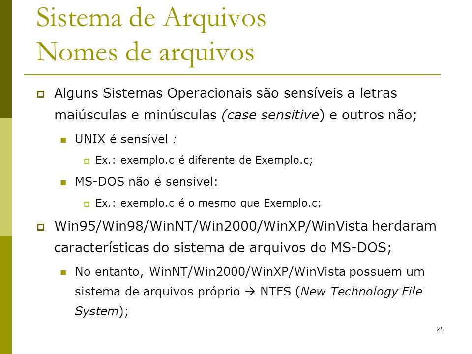 25 Sistema de Arquivos Nomes de arquivos Alguns Sistemas Operacionais são sensíveis a letras maiúsculas e minúsculas (case sensitive) e outros não; UN