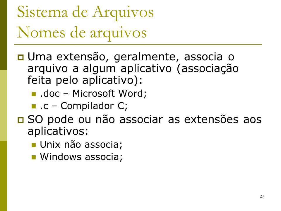 27 Sistema de Arquivos Nomes de arquivos Uma extensão, geralmente, associa o arquivo a algum aplicativo (associação feita pelo aplicativo):.doc – Micr