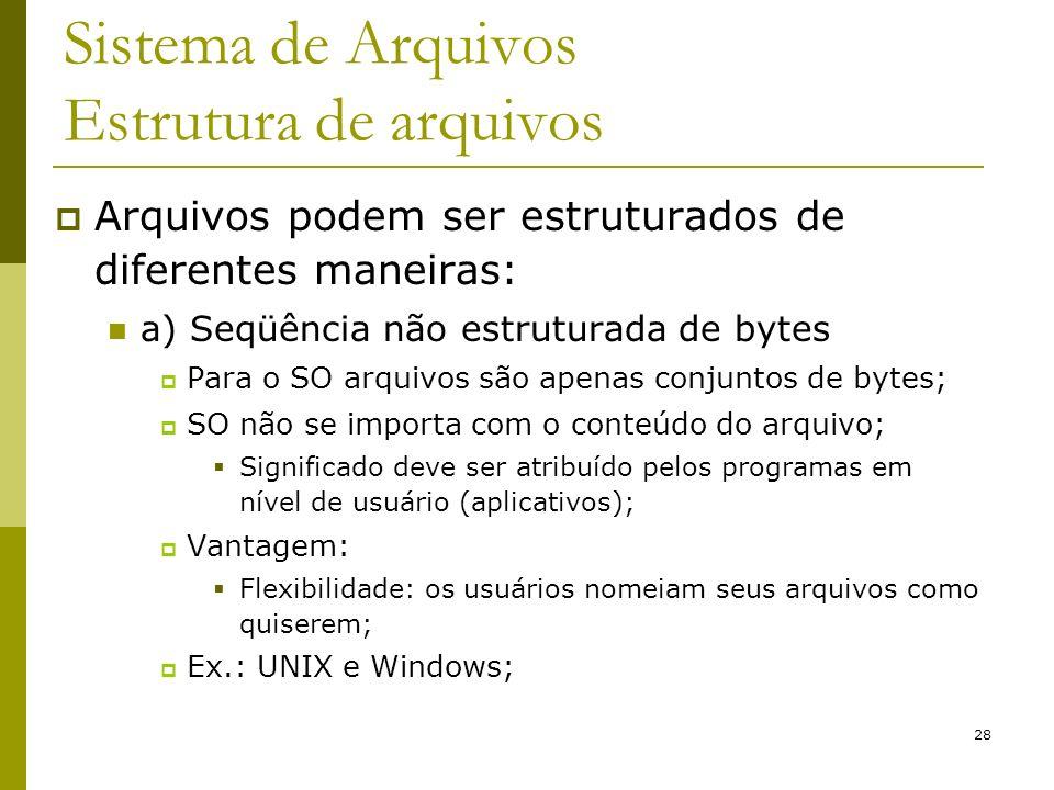 28 Sistema de Arquivos Estrutura de arquivos Arquivos podem ser estruturados de diferentes maneiras: a) Seqüência não estruturada de bytes Para o SO a