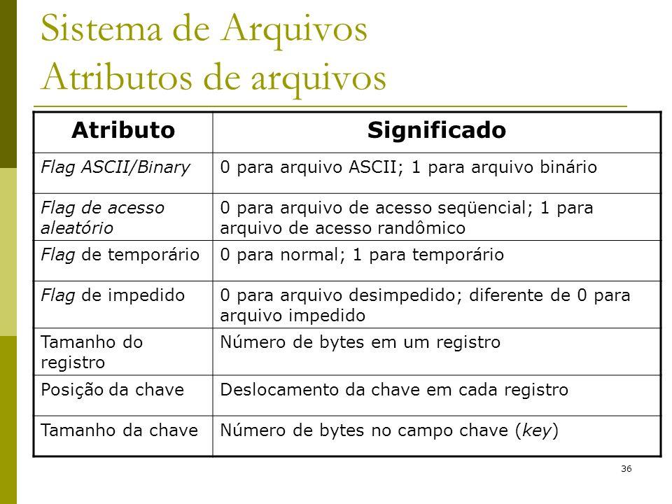 36 AtributoSignificado Flag ASCII/Binary0 para arquivo ASCII; 1 para arquivo binário Flag de acesso aleatório 0 para arquivo de acesso seqüencial; 1 p