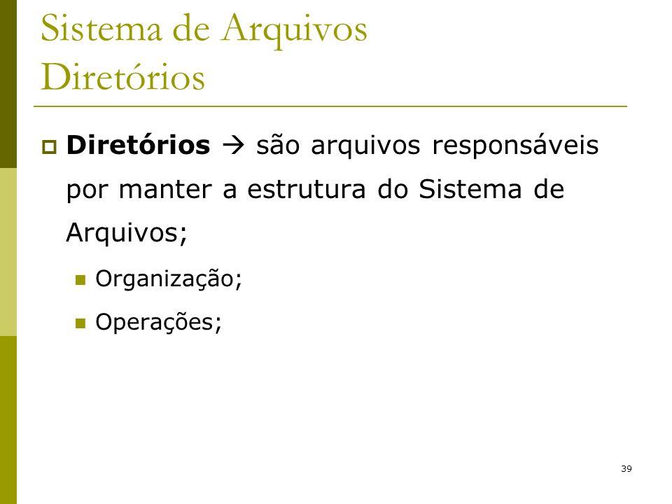 39 Sistema de Arquivos Diretórios Diretórios são arquivos responsáveis por manter a estrutura do Sistema de Arquivos; Organização; Operações;
