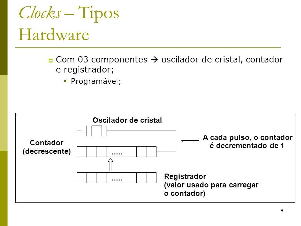 4 Clocks – Tipos Hardware Com 03 componentes oscilador de cristal, contador e registrador; Programável;..... Contador (decrescente) Oscilador de crist