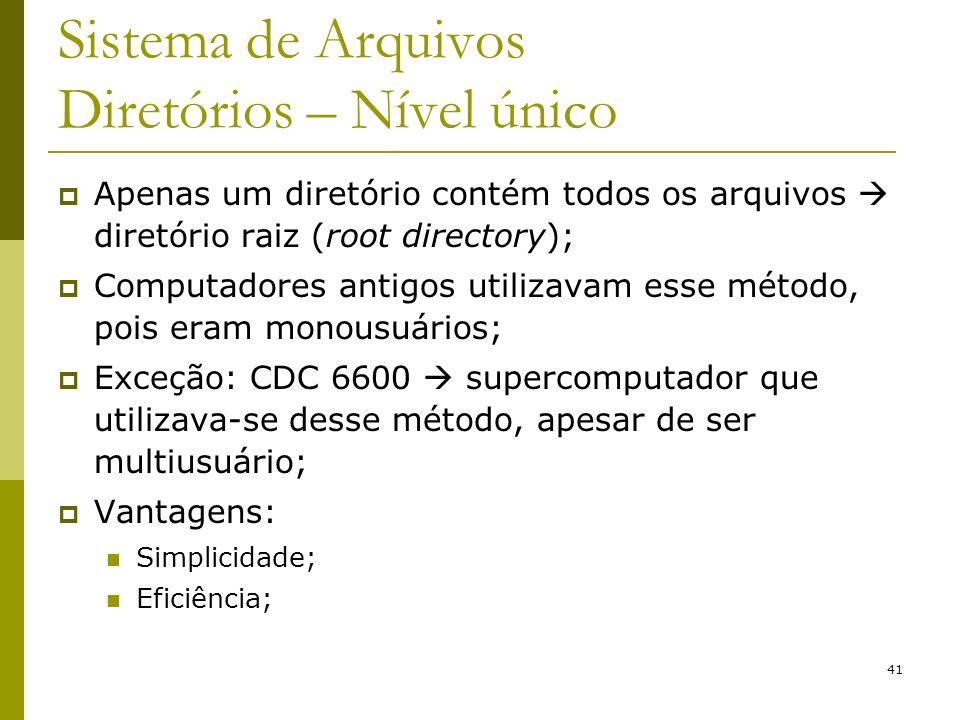 41 Sistema de Arquivos Diretórios – Nível único Apenas um diretório contém todos os arquivos diretório raiz (root directory); Computadores antigos uti