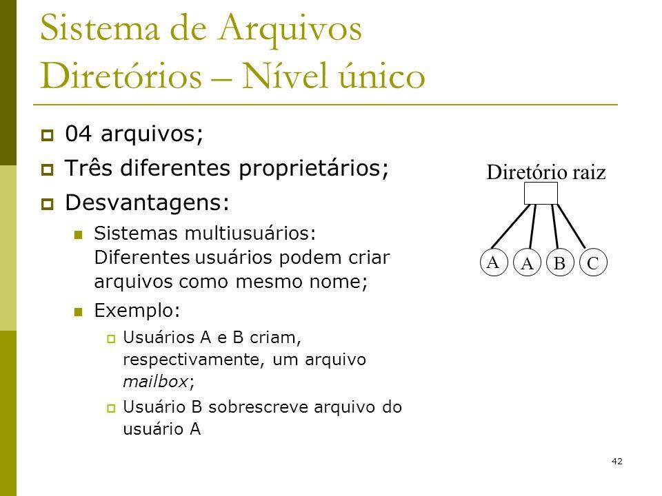 42 Sistema de Arquivos Diretórios – Nível único 04 arquivos; Três diferentes proprietários; Desvantagens: Sistemas multiusuários: Diferentes usuários