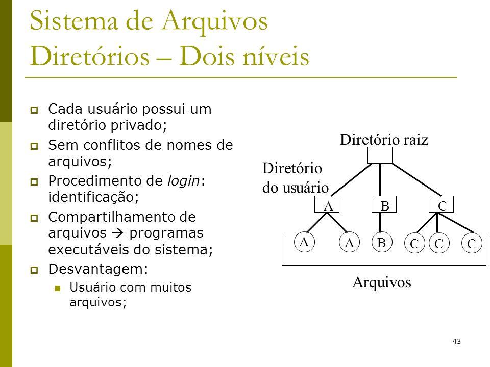 43 Sistema de Arquivos Diretórios – Dois níveis Cada usuário possui um diretório privado; Sem conflitos de nomes de arquivos; Procedimento de login: i