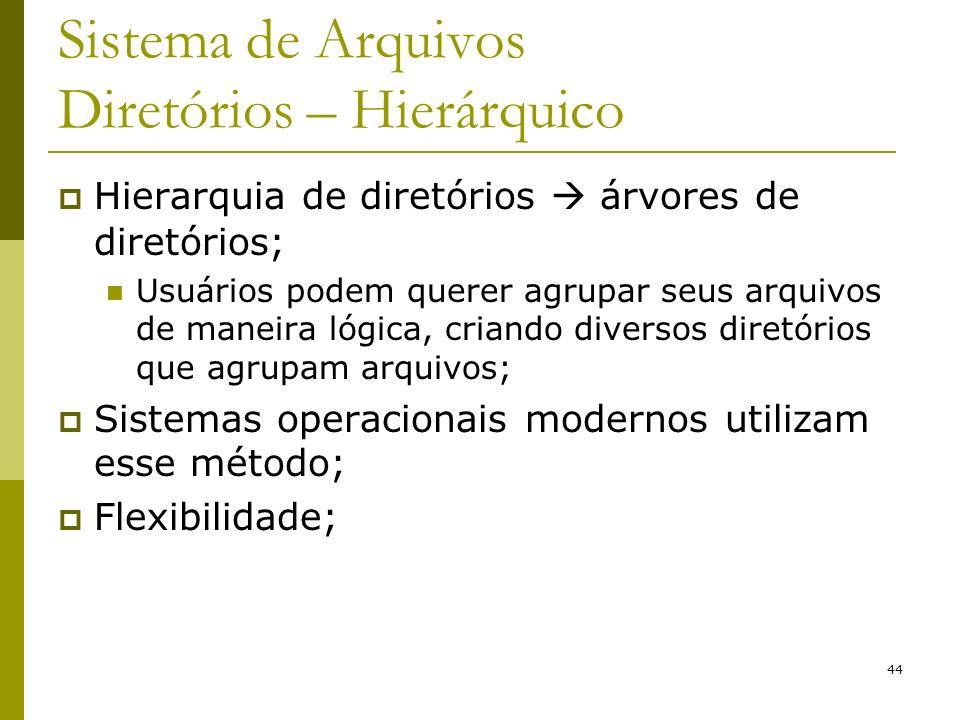 44 Sistema de Arquivos Diretórios – Hierárquico Hierarquia de diretórios árvores de diretórios; Usuários podem querer agrupar seus arquivos de maneira