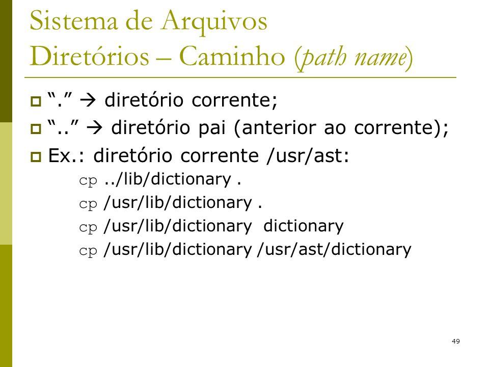 49 Sistema de Arquivos Diretórios – Caminho (path name). diretório corrente;.. diretório pai (anterior ao corrente); Ex.: diretório corrente /usr/ast: